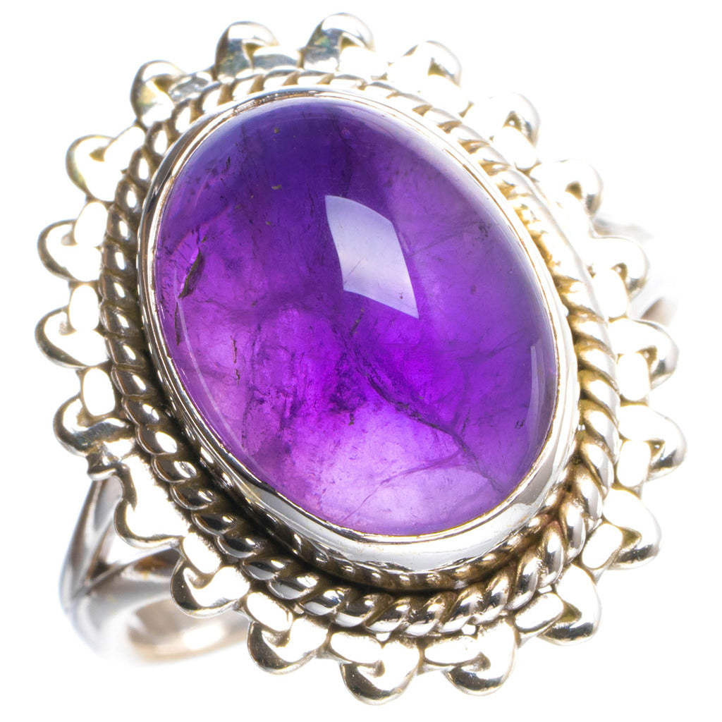 Natural Amethyst Handmade Unique 925 Sterling Silver Ring 7 Y4773