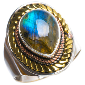 Natural Blue Fire Labradorite Handmade Unique 925 Sterling Silver Ring 10.5 Y4851