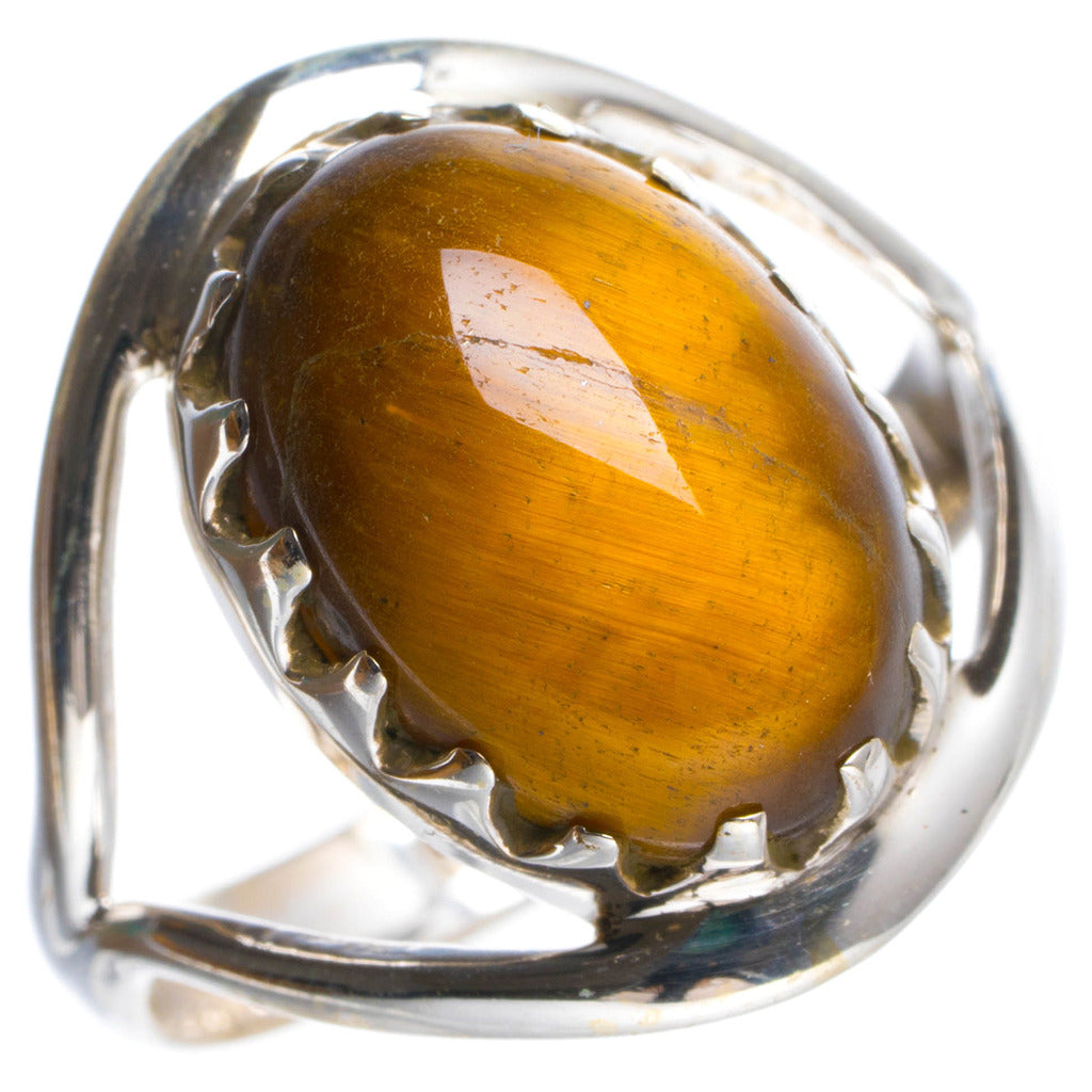 Natural Tiger Eye Handmade Unique 925 Sterling Silver Ring 7.25 Y4921