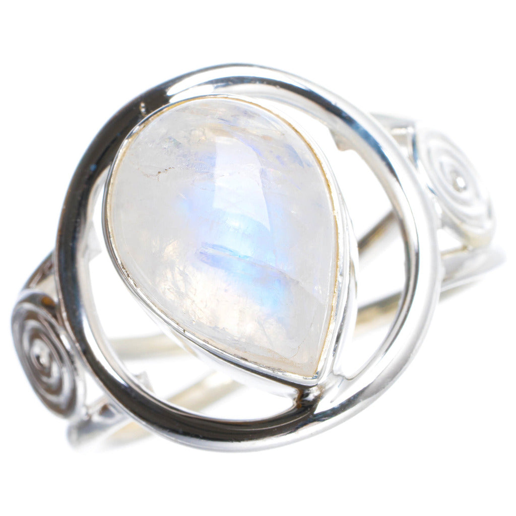 Natural Rainbow Moonstone Handmade Unique 925 Sterling Silver Ring 8.75 Y4935