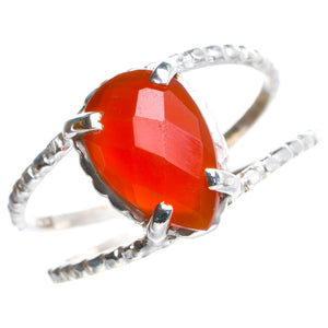 Natural Carnelian Handmade Unique 925 Sterling Silver Ring 8 Y4964