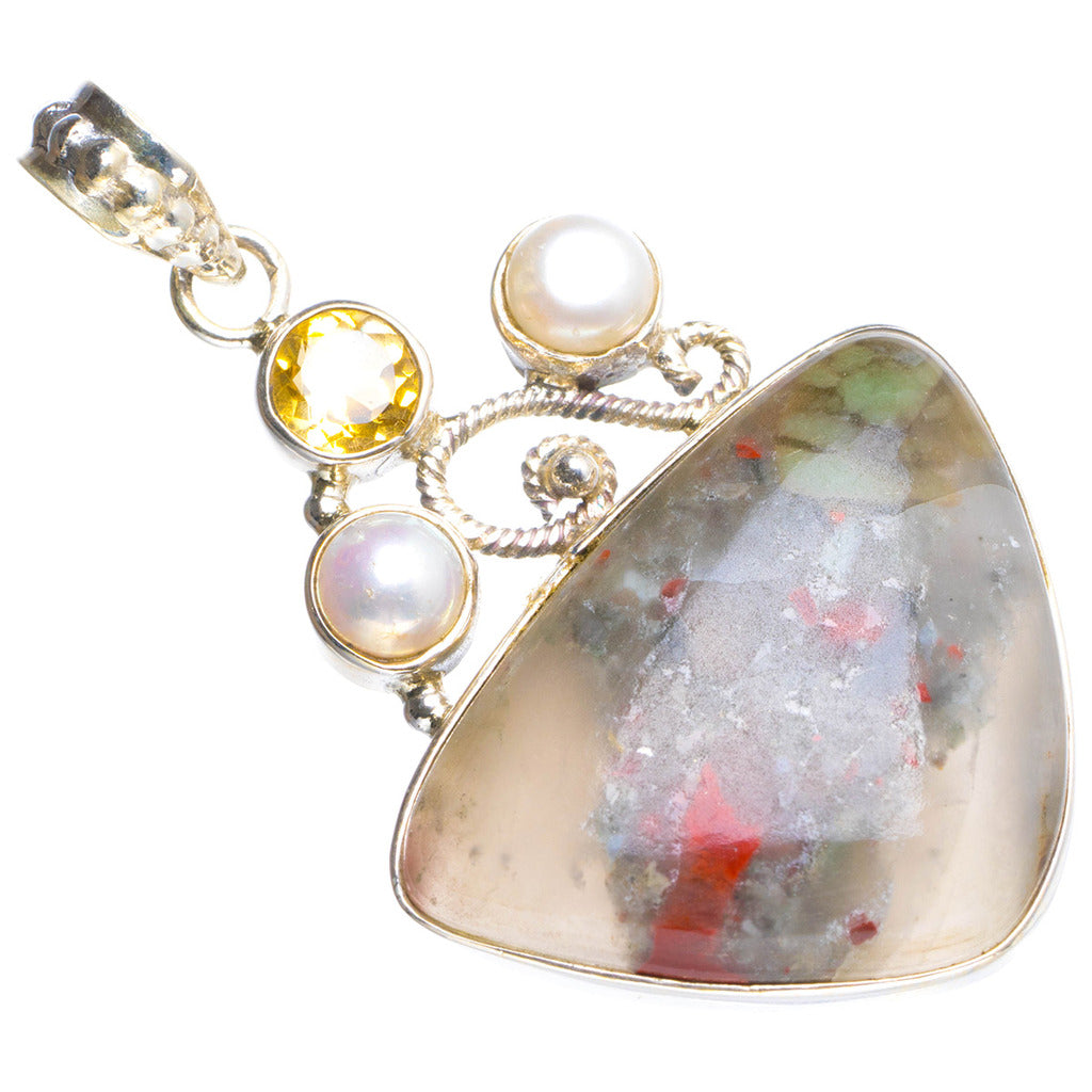 Natural Agate,Citrine and River Pearl Handmade Unique 925 Sterling Silver Pendant 1.75