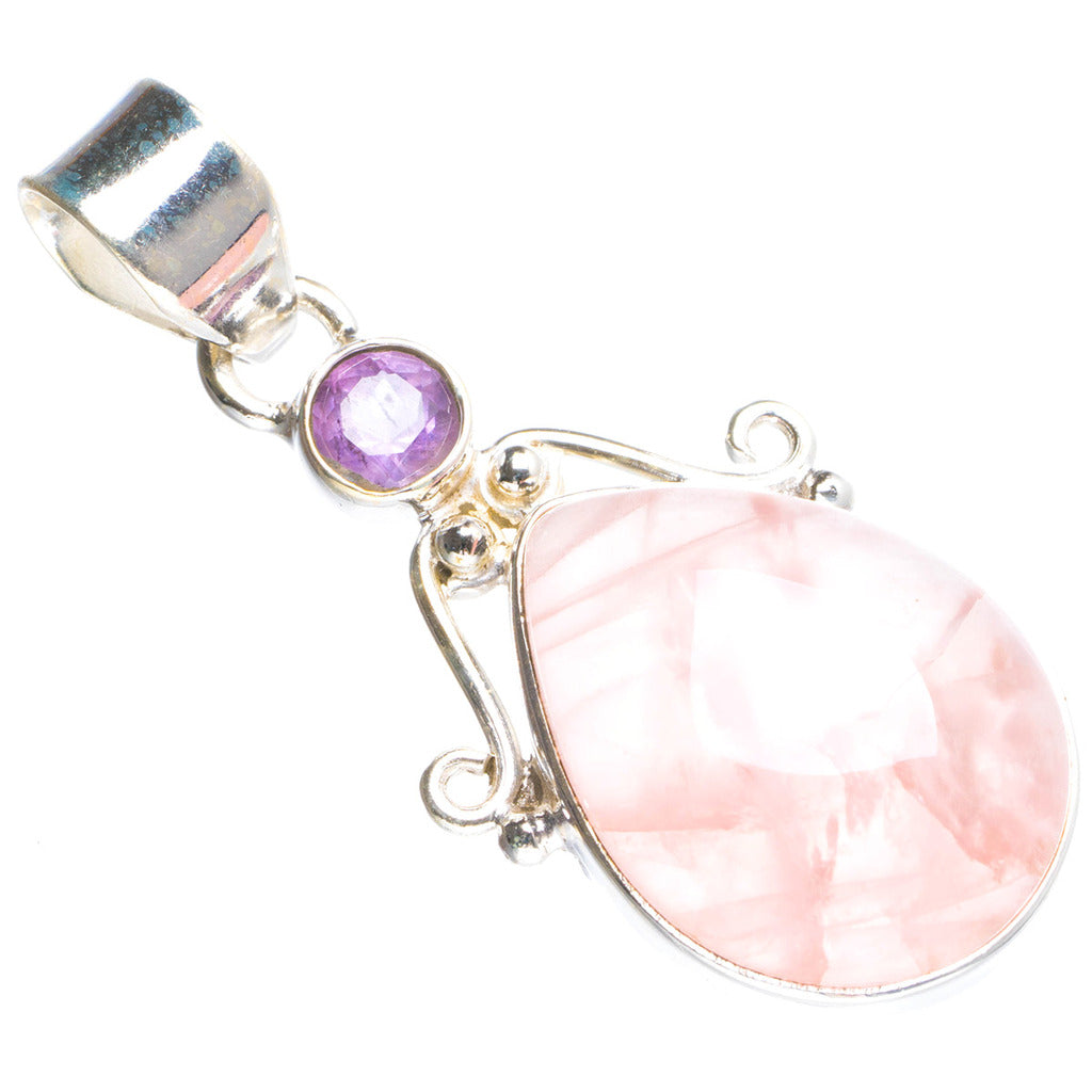Natural Rose Quartz and Amethyst Handmade Unique 925 Sterling Silver Pendant 1.5