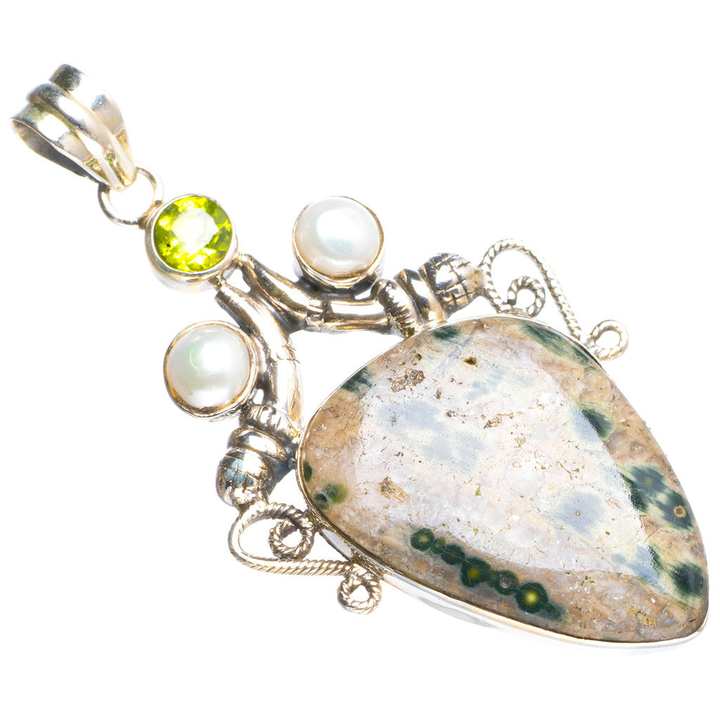 Natural Ocean Jasper and River Pearl,Peridot Handmade Unique 925 Sterling Silver Pendant 2.25