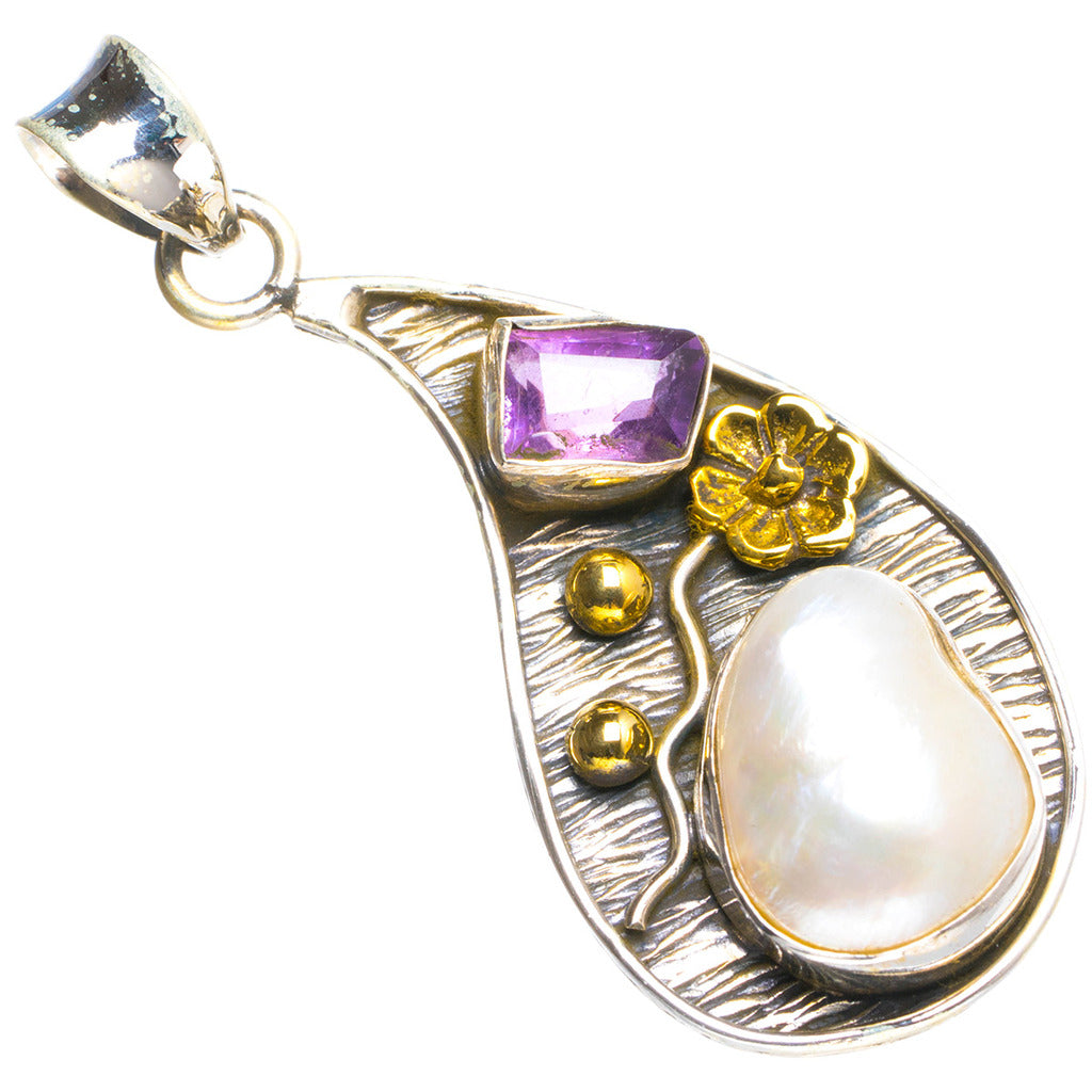 Natural Two Tones River Pearl and Amethyst Handmade Unique 925 Sterling Silver Pendant 1.75