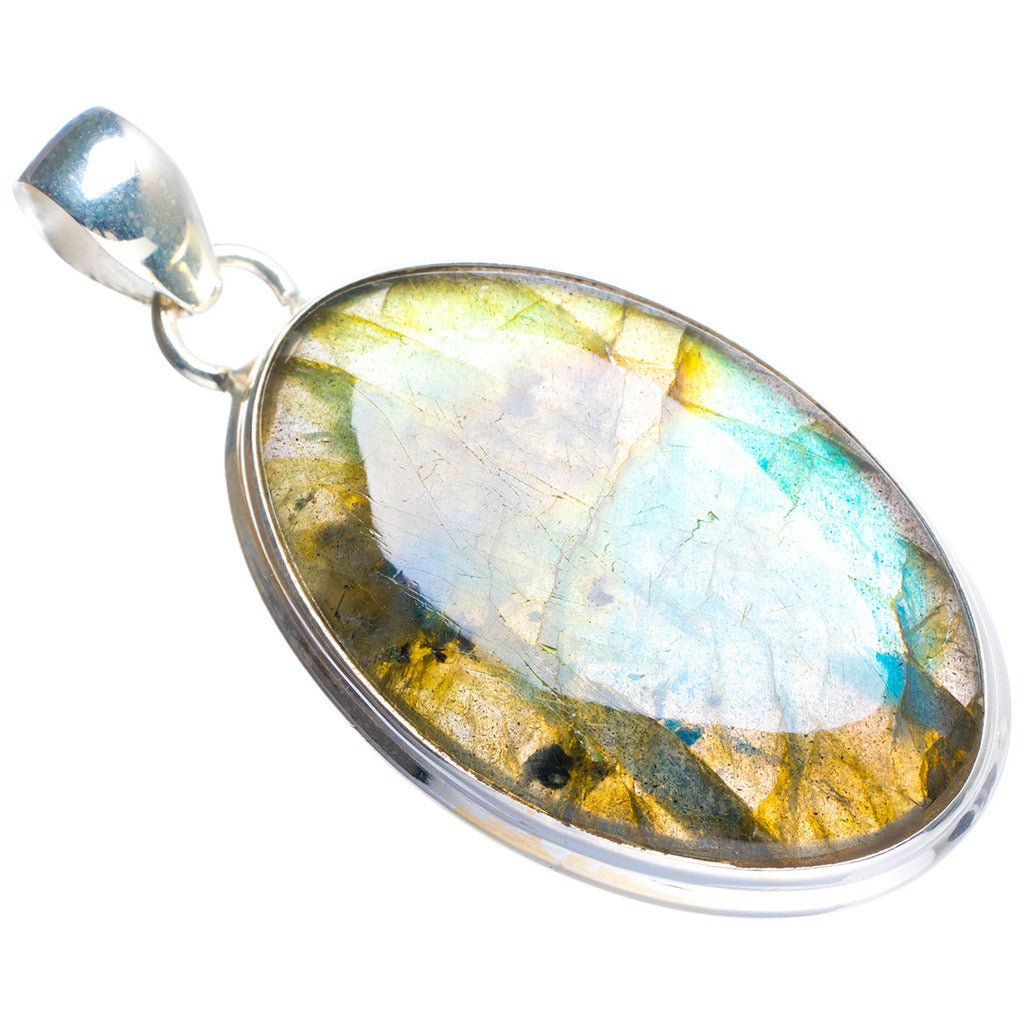Natural Blue Fire Labradorite Handmade Unique 925 Sterling Silver Pendant 2