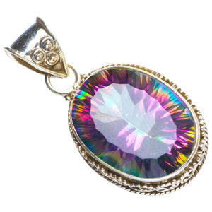 "Natural Mystical Topaz Handmade Unique 925 Sterling Silver Pendant 1.5"" Y5210"