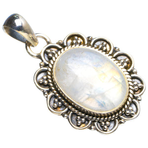 "Natural Rainbow Moonstone Handmade Unique 925 Sterling Silver Pendant 1.5"" Y5228"