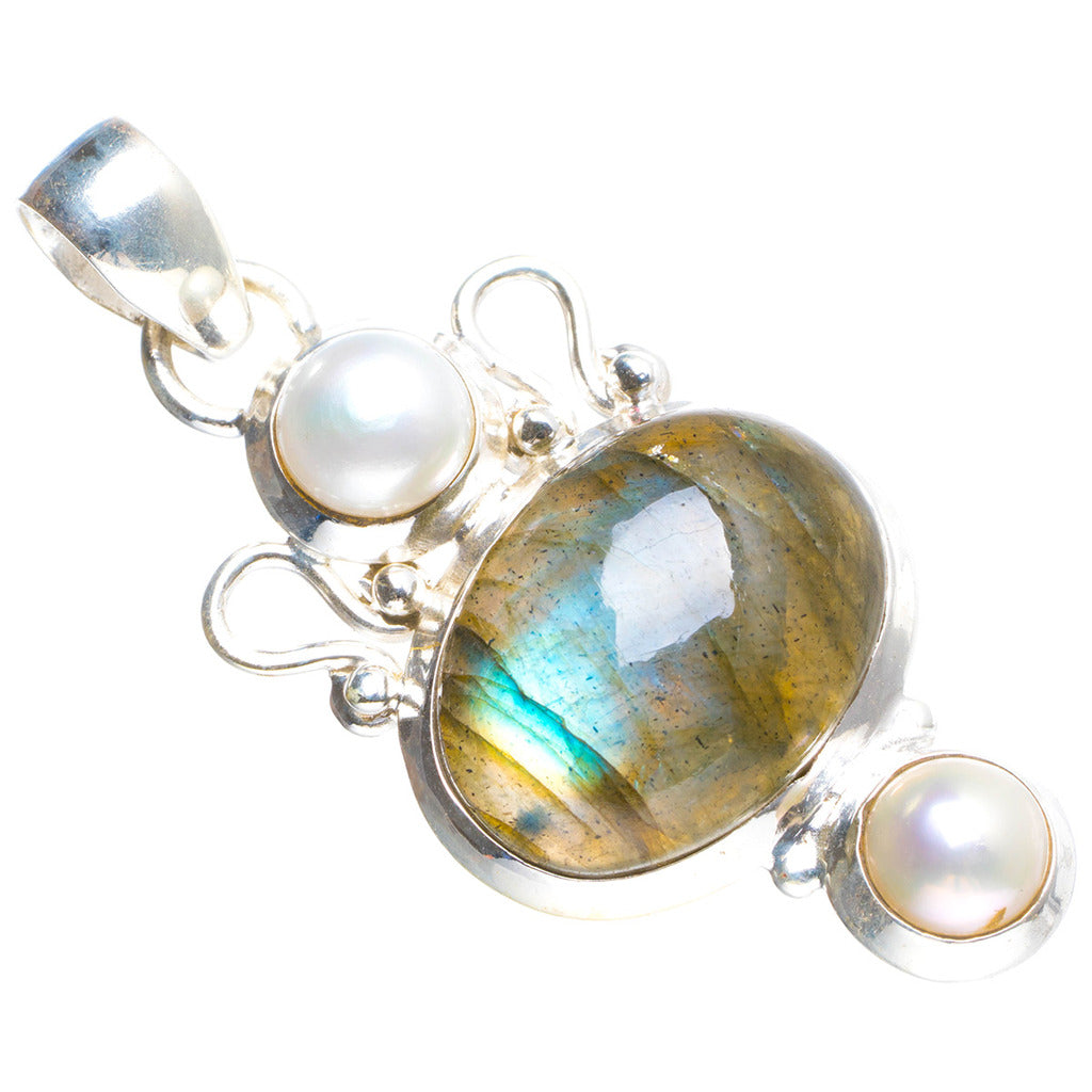 Natural Blue Fire Labradorite and River Pearl Handmade Unique 925 Sterling Silver Pendant 1.75
