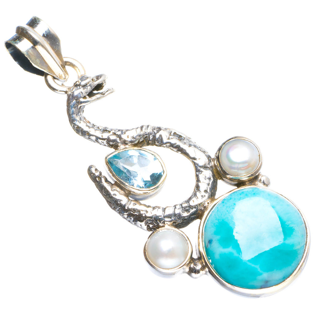 Natural Larimar,River Pearl and Blue Topaz Snake 925 Sterling Silver Pendant 1.75