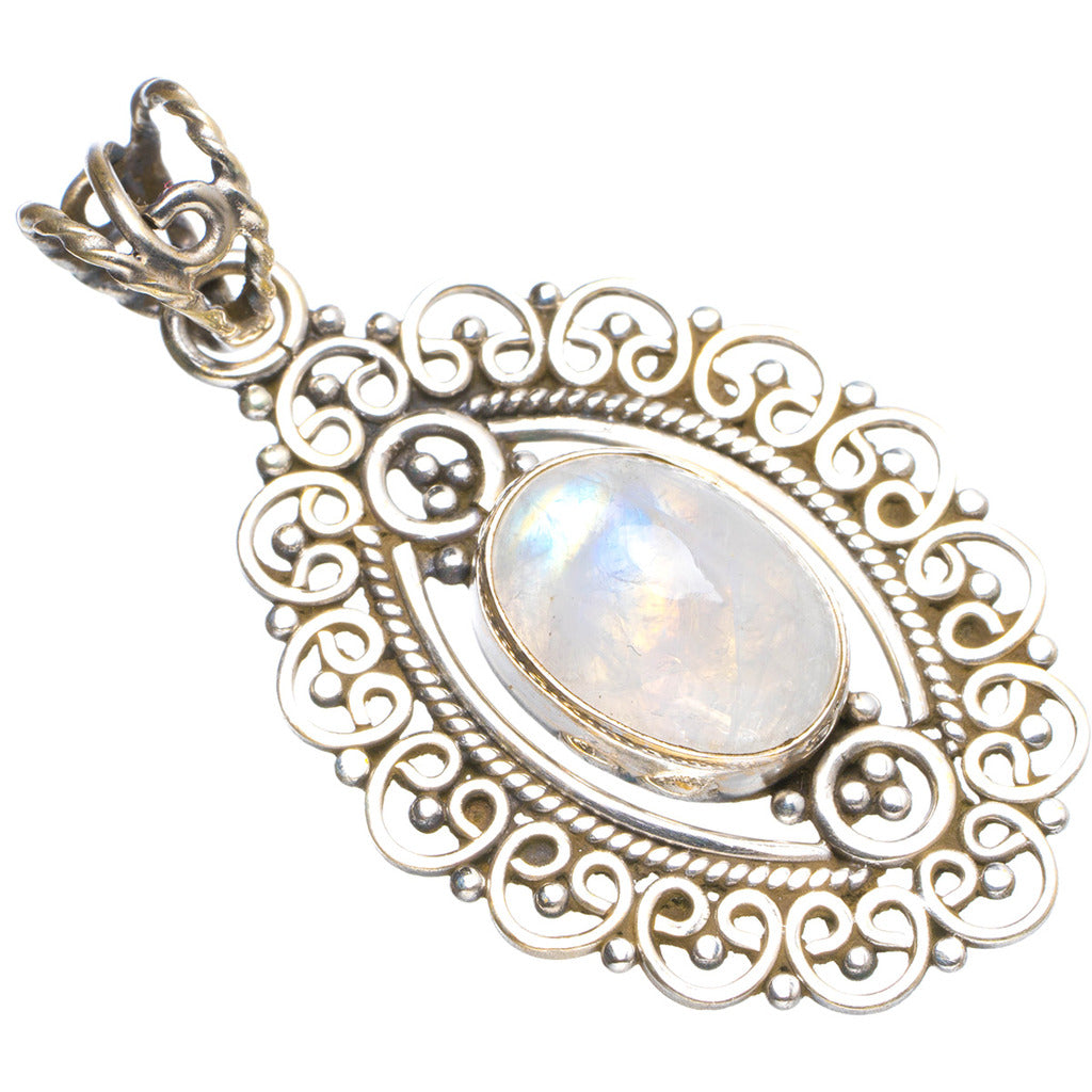 Natural Rainbow Moonstone Handmade Unique 925 Sterling Silver Pendant 1.75