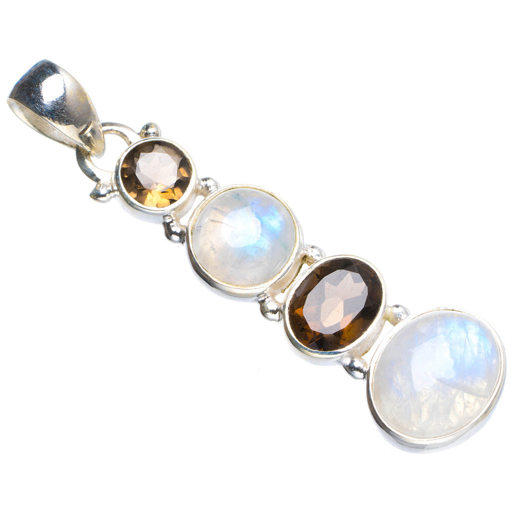 Natural Rainbow Moonstone and Smoky Quartz Handmade Unique 925 Sterling Silver Pendant 2