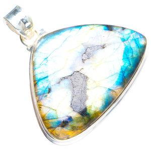 "Natural Blue Fire Labradorite Handmade Unique 925 Sterling Silver Pendant 1.75"" Y5269"