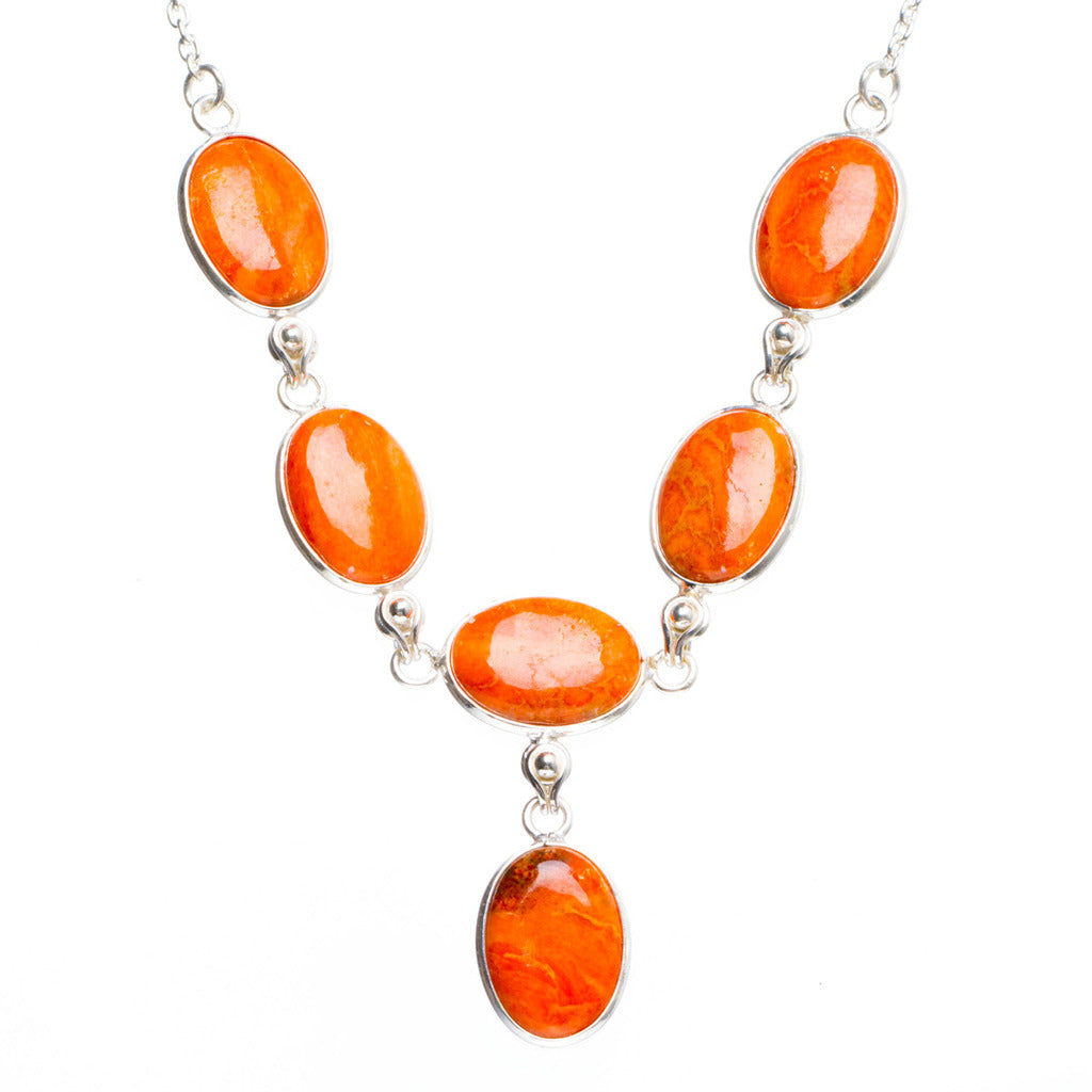 Natural Orange Calcite Handmade Unique 925 Sterling Silver Necklace17.5+1.25