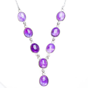 "Natural Amethyst Handmade Unique 925 Sterling Silver Neacklace 17.75+1"" Y5315"