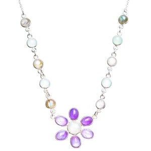 "Natural Rainbow Moonstone,Amethyst,Chalcedony and Labradorite Handmade Neacklace 17+1"" Y5328"