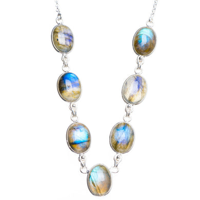 Natural Blue Fire Labradorite Handmade Unique 925 Sterling Silver Neacklace 16.75+1.5