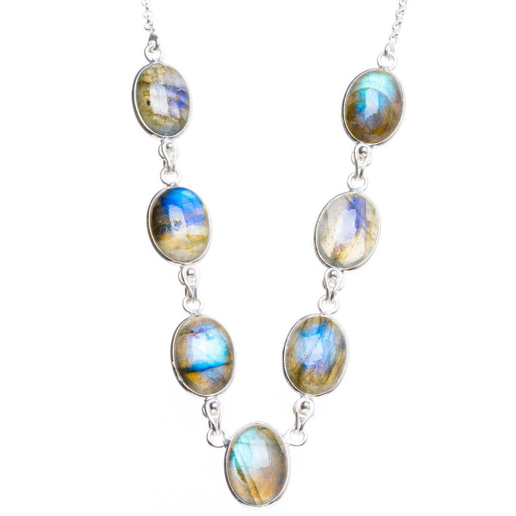 Natural Blue Fire Labradorite Handmade Unique 925 Sterling Silver Necklace16.75+1.5