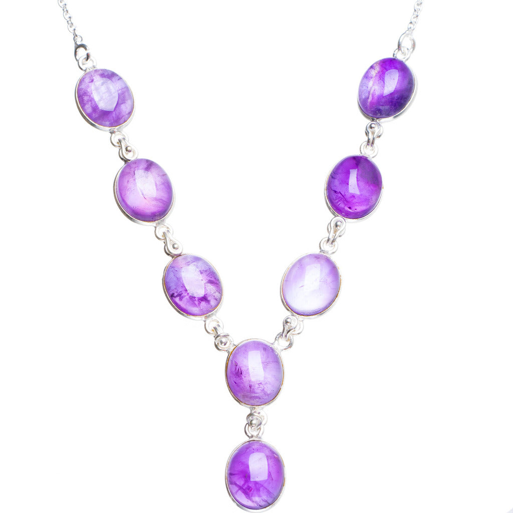 Natural Amethyst Handmade Unique 925 Sterling Silver Necklace18+0.75