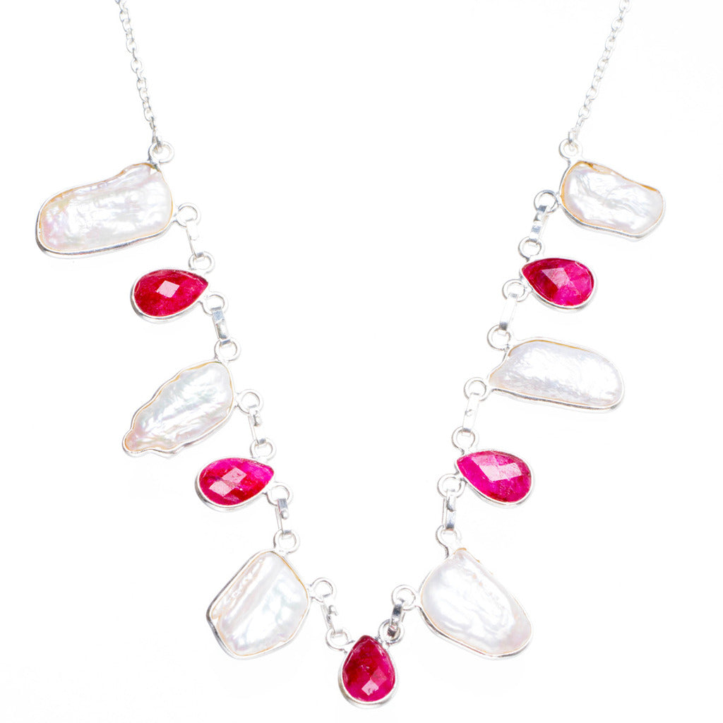 Natural Biwa Pearl and Cherry Ruby Handmade Unique 925 Sterling Silver Necklace17.75+1.75