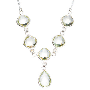 "Natural Green Amethyst Handmade Unique 925 Sterling Silver Necklace16.25+1.5"" Y5360"