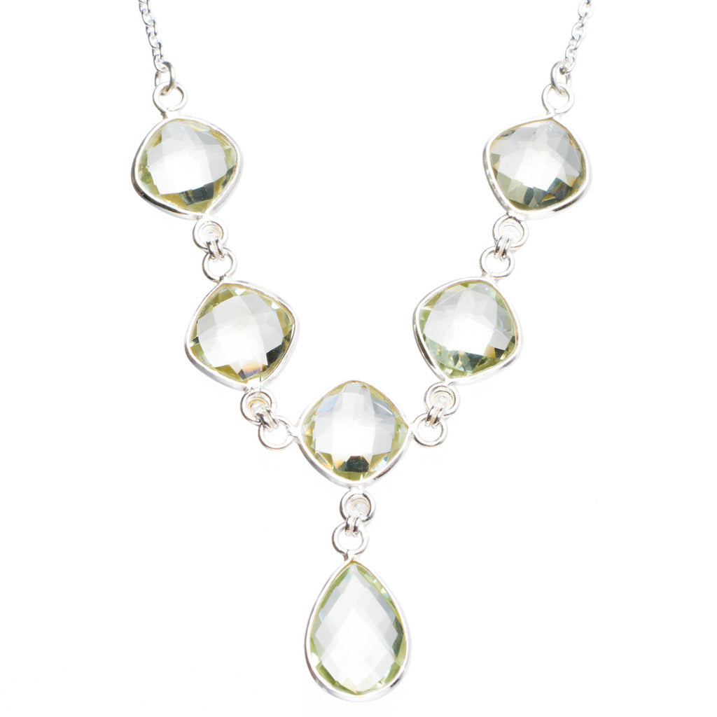 Natural Green Amethyst Handmade Unique 925 Sterling Silver Necklace16.25+1.5