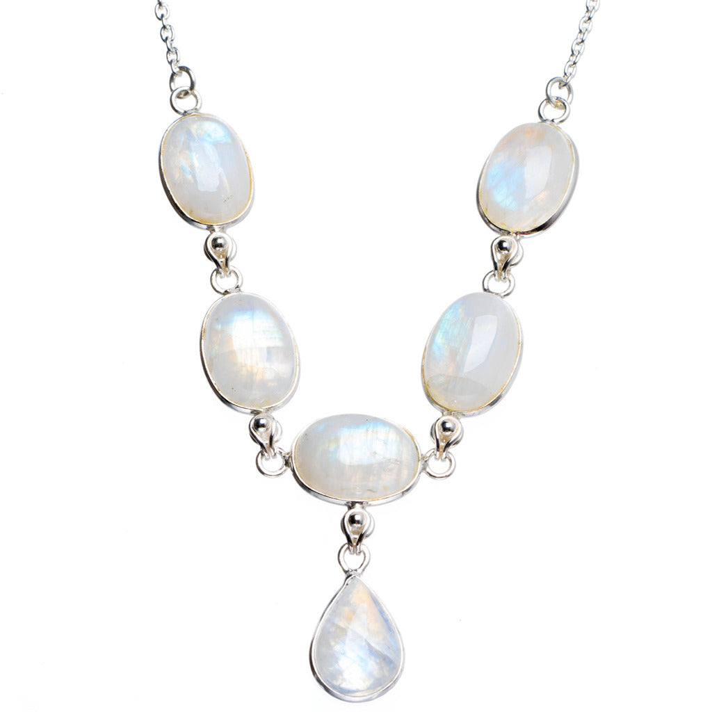 Natural Rainbow Moonstone Handmade Unique 925 Sterling Silver Necklace17+1.5