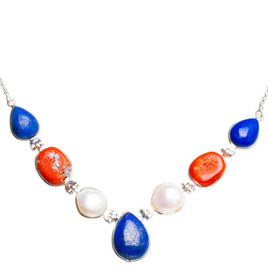 "Natural Red Coral,Lapis Lazuli and River Pearl 925 Sterling Silver Neacklace 15.5+1.75"" Y5372"