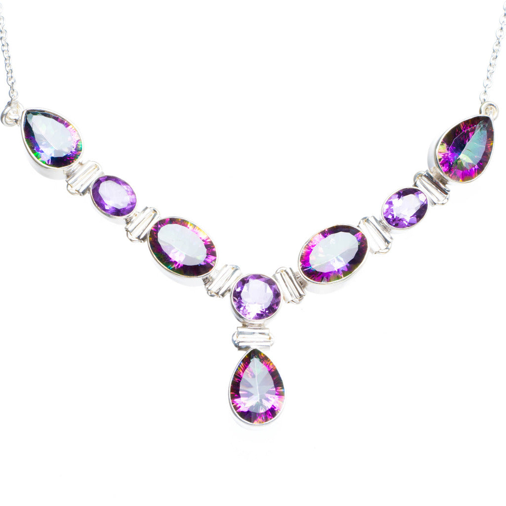 Natural Mystical Topaz Handmade Unique 925 Sterling Silver Necklace16+1.5