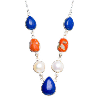 Natural Red Coral,Lapis Lazuli and River Pearl 925 Sterling Silver Neacklace 16.5+1.5