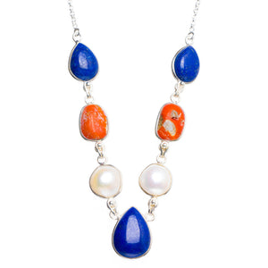 "Natural Red Coral,Lapis Lazuli and River Pearl 925 Sterling Silver Neacklace 16.5+1.5"" Y5382"