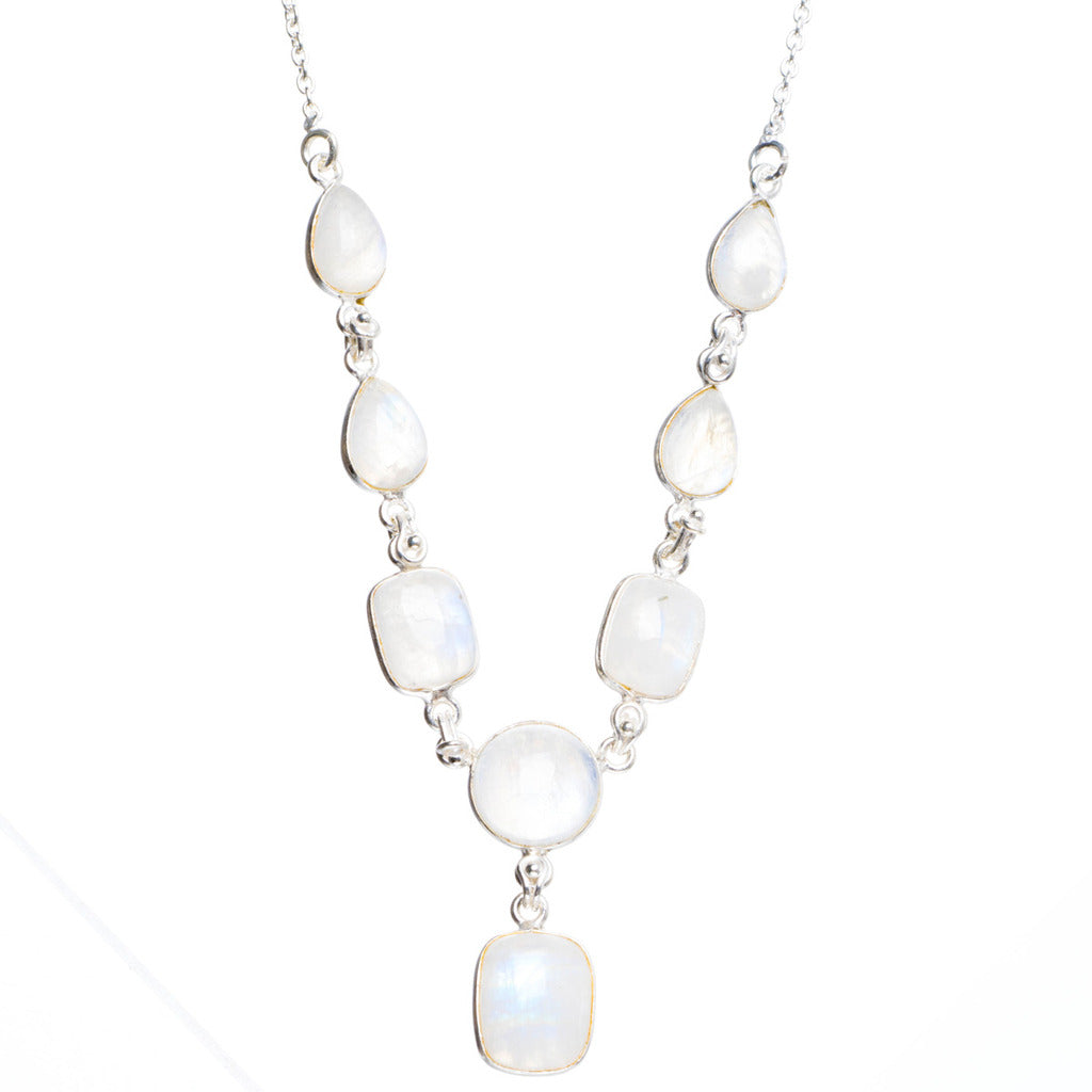 Natural Rainbow Moonstone Handmade Unique 925 Sterling Silver Necklace19.25+0.5