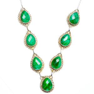 "Natural Emerald Handmade Unique 925 Sterling Silver Neacklace 19.5+1.75"" Y5391"