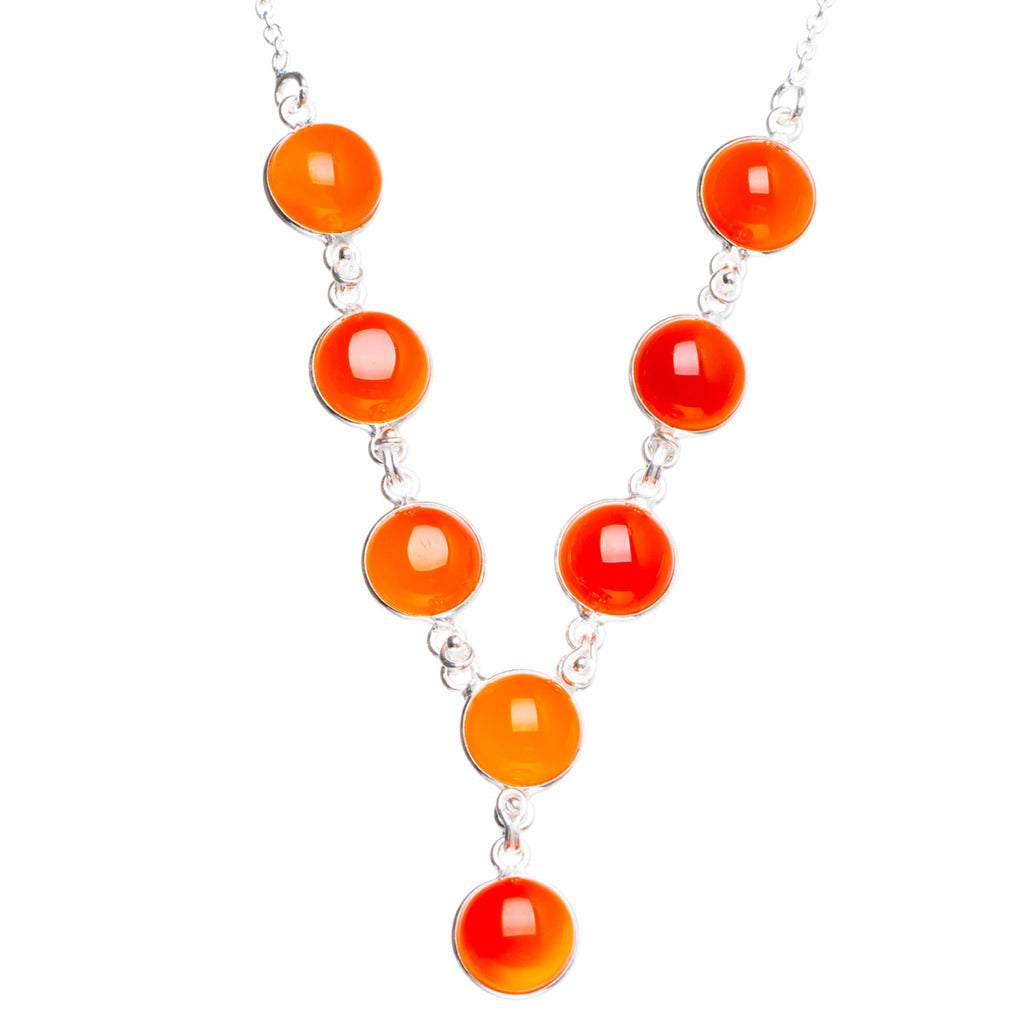 Natural Carnelian Handmade Unique 925 Sterling Silver Necklace17.5+0.75