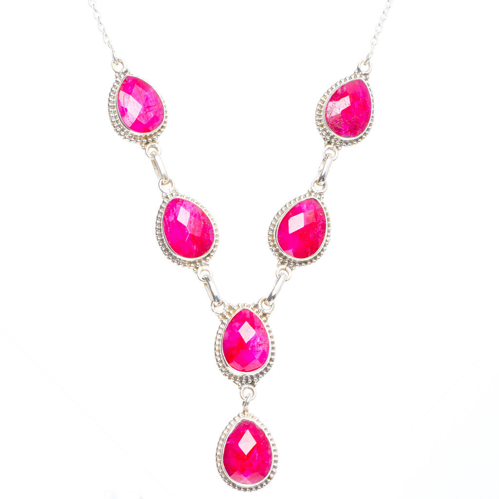 Natural Cherry Ruby Handmade Unique 925 Sterling Silver Necklace 19.25+1.5