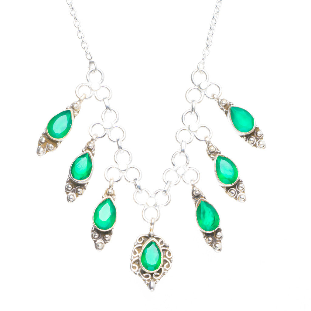 Natural Chrysoprase Handmade Unique 925 Sterling Silver Necklace 16.5+1