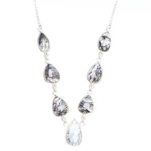 "Natural Tourmalinated Quartz Handmade Unique 925 Sterling Silver Necklace 17+1.5"" Y5428"