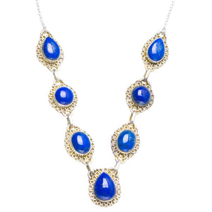 "Natural Lapis Lazuli Handmade Unique 925 Sterling Silver Necklace 18.5+2"" Y5435"