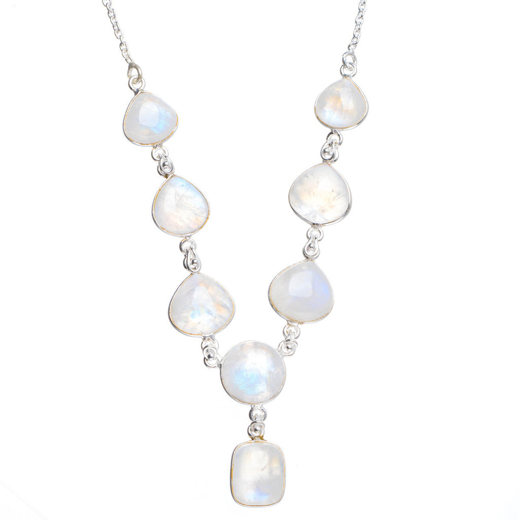 Natural Rainbow Moonstone Handmade Unique 925 Sterling Silver Necklace 18.25+0.75
