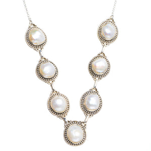 "Natural River Pearl Handmade Unique 925 Sterling Silver Necklace 19+2"" Y5448"
