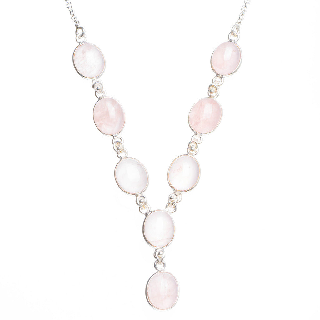 Natural Rose Quartz Handmade Unique 925 Sterling Silver Necklace 17.5+0.5