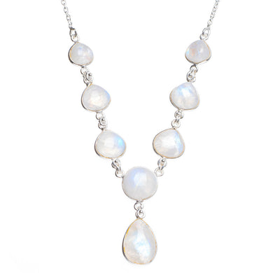 Natural Rainbow Moonstone Handmade Unique 925 Sterling Silver Necklace 17.25+1