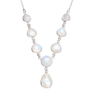 "Natural Rainbow Moonstone Handmade Unique 925 Sterling Silver Necklace 17.25+1"" Y5457"
