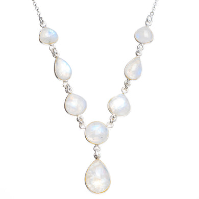 Natural Rainbow Moonstone Handmade Unique 925 Sterling Silver Necklace 17.75+0.5