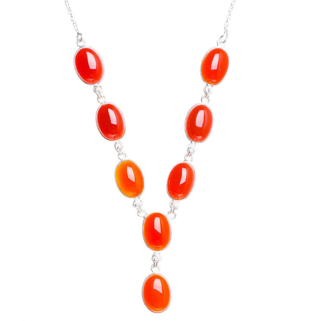 Natural Carnelian Handmade Unique 925 Sterling Silver Necklace 18.5+0.5