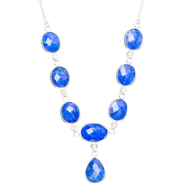 Natural Sapphire Handmade Unique 925 Sterling Silver Necklace 15.5+1.5