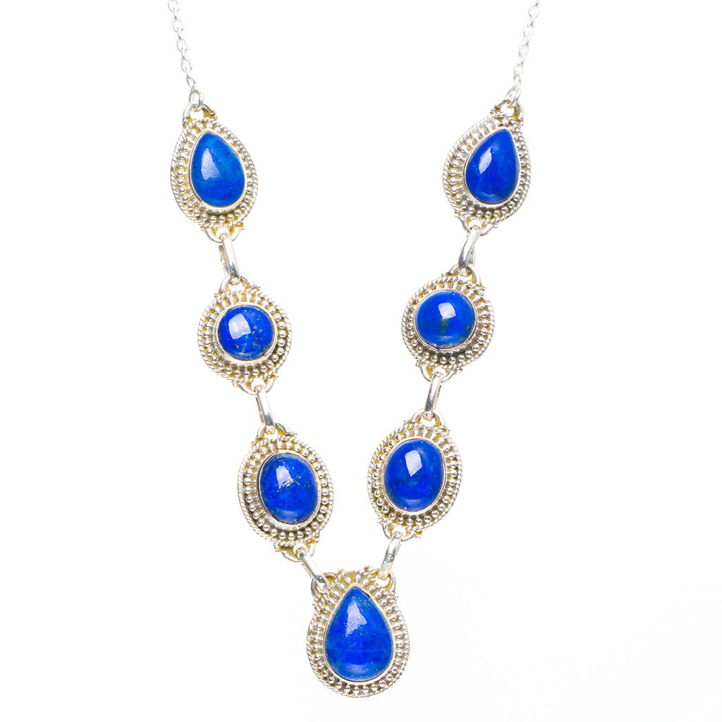 Natural Lapis Lazuli Handmade Unique 925 Sterling Silver Necklace 18.5+2