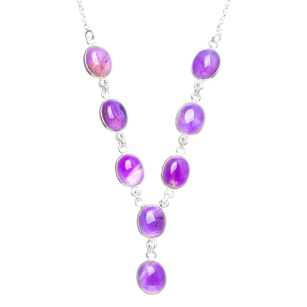 Natural Amethyst Handmade Unique 925 Sterling Silver Necklace 17+1