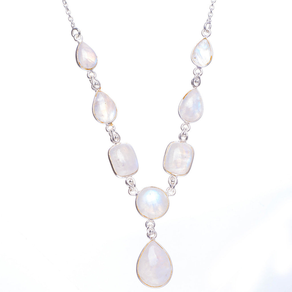 Natural Rainbow Moonstone Handmade Unique 925 Sterling Silver Necklace 19+1