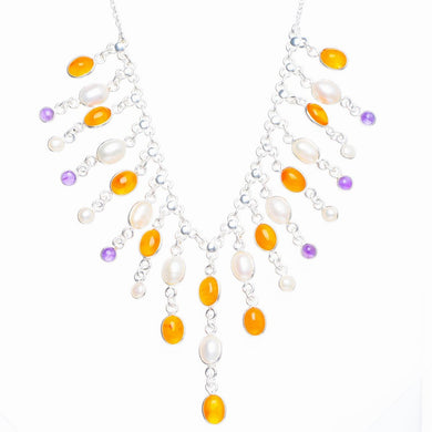Natural Carnelian,River Pearl and Amethyst Handmade Unique 925 Sterling Silver Necklace 15.75+2